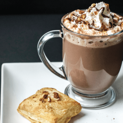 spiced hazelnut hot chocolate paired with pastry