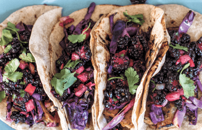 Spicy Mango Chicken Sausage Tacos with Blackberry and Cucumber Salsa