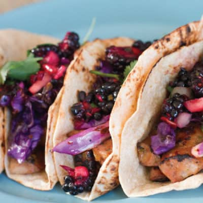 plated Spicy Mango Chicken Sausage Tacos with Blackberry and Cucumber Salsa