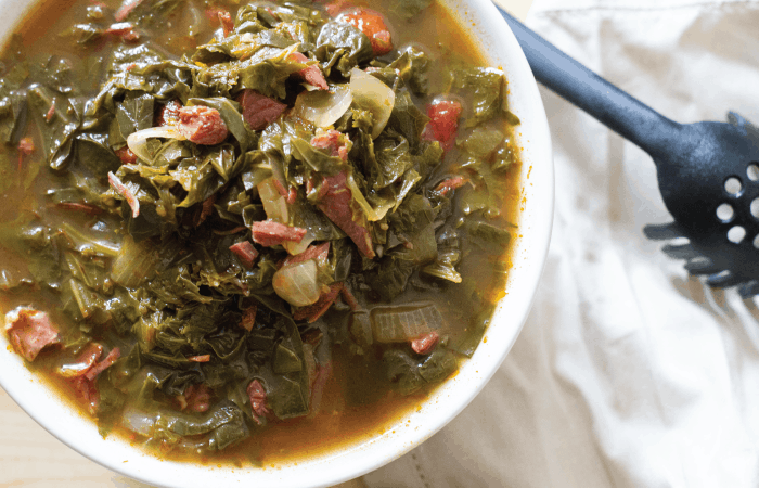 Close up overhead shot of Instant Pot Southern Greens