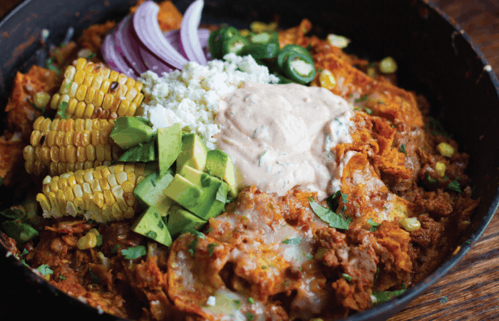 Roasted Corn and Soy Chorizo Chilaquiles