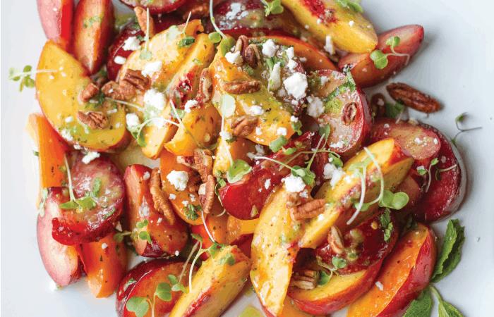 Summer stone fruit salad on platter