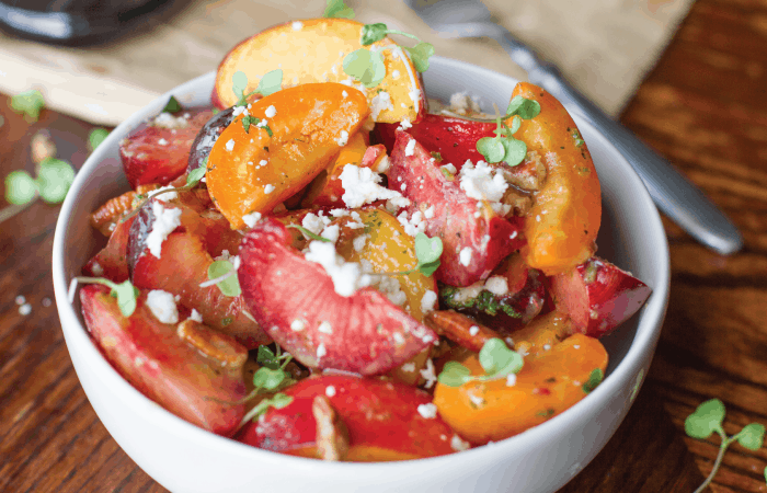 Summer Stone Fruit Salad with Jalapeno & Prosecco Vinaigrette