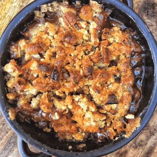 Overhead shot of Candied Yam Casserole with Brown Sugar Streusel