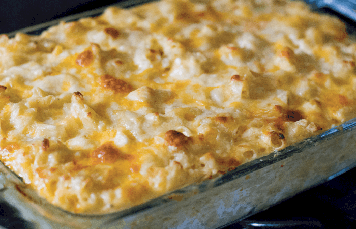 Mac and Cheese baked in pyrex