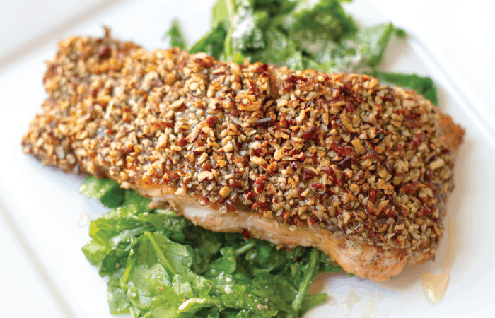 over head shot of plated pecan crusted salmon