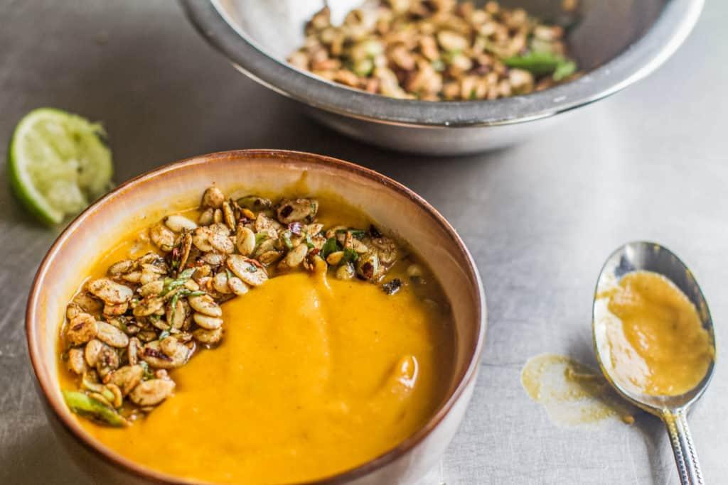 Bowl of Vegan Butternut Squash Soup with Pumpkin Seeds