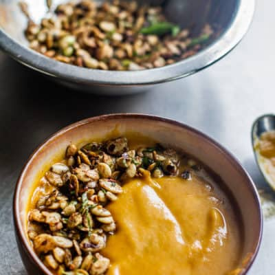 Bowl of Vegan Butternut Squash Soup with Pumpkin Seeds