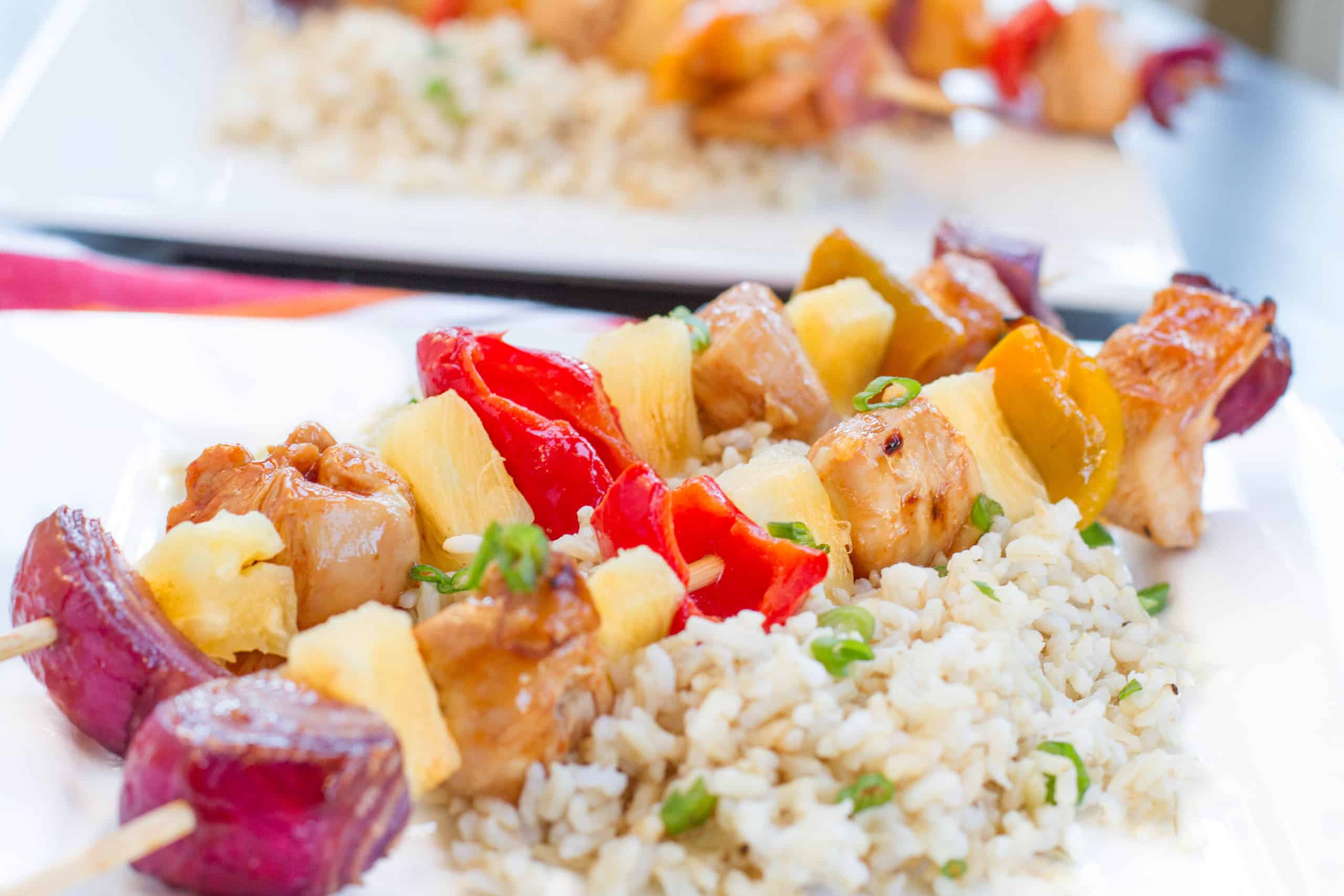 Chicken & Pineapple kababs on rice