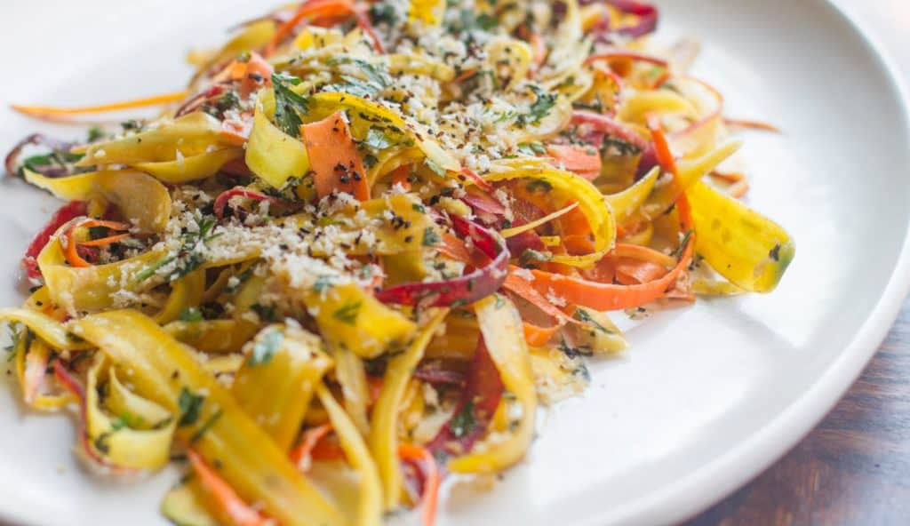 plated 15 Minute Shaved Carrot Salad With Ponzu Dressing