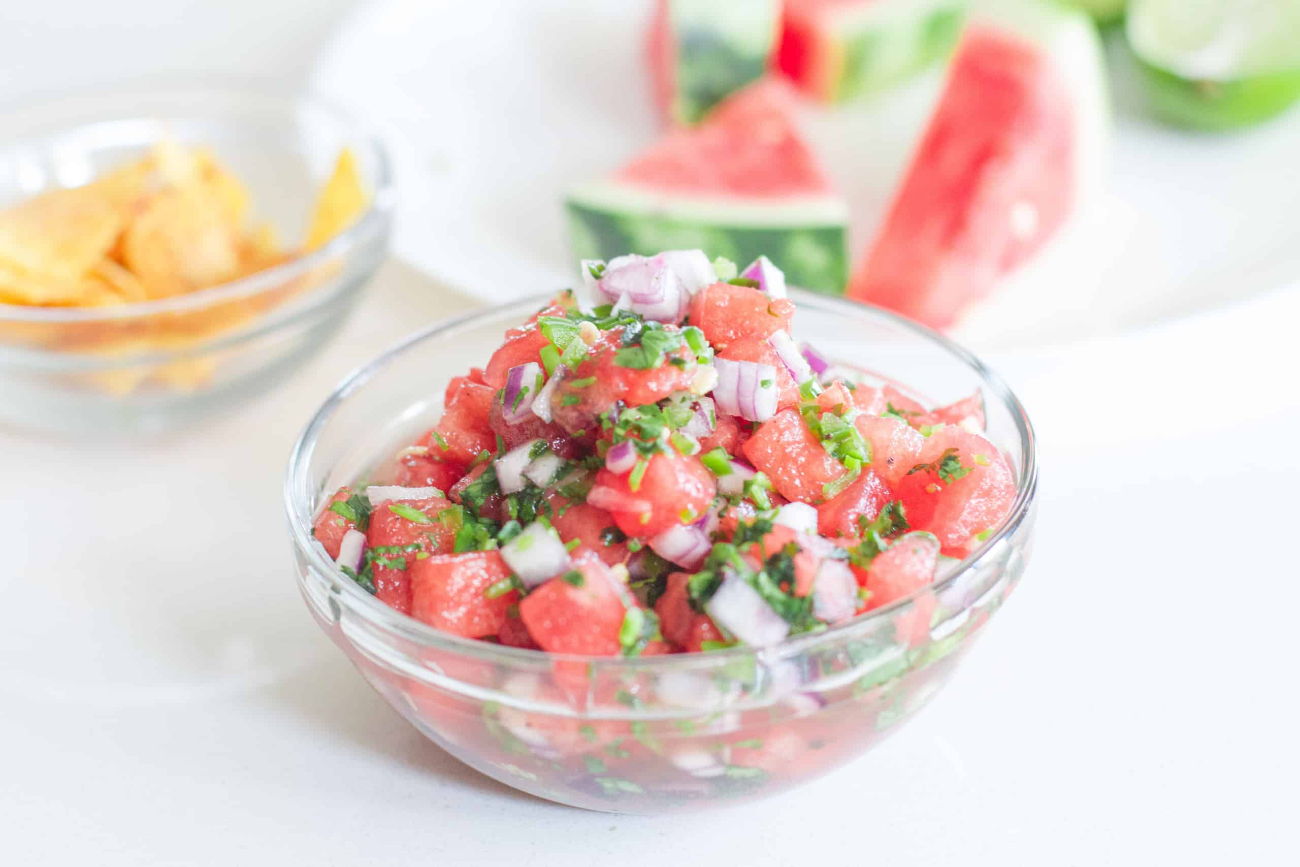 Summer never tasted so good with this refreshing and easy watermelon salsa. Serves great with chips or over grilled seafood and poultry.