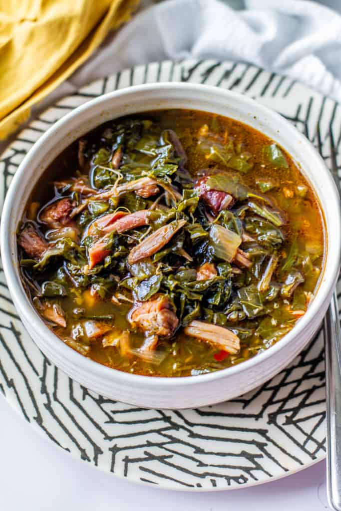 instant pot southern style greens in a bowl