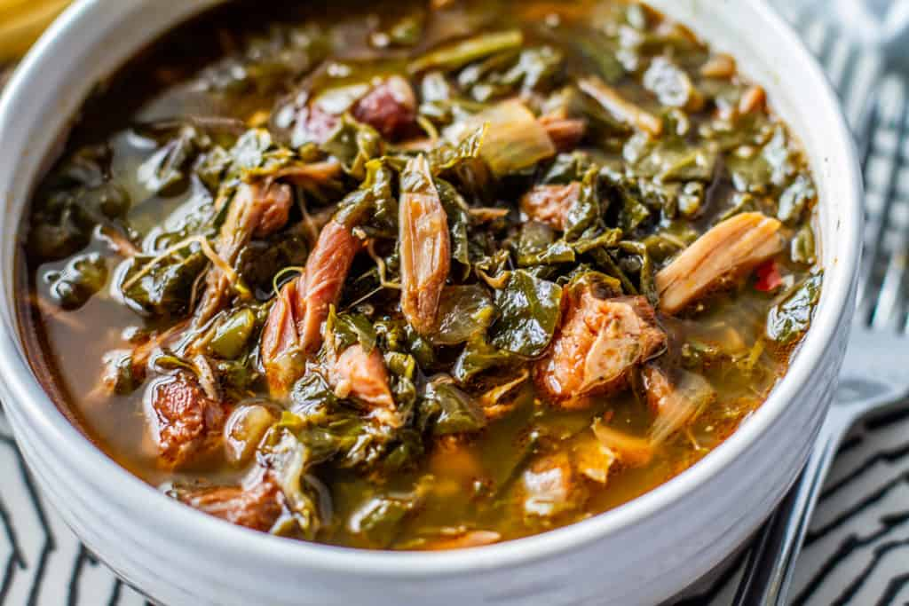 close up of instant pot southern style greens in a bowl