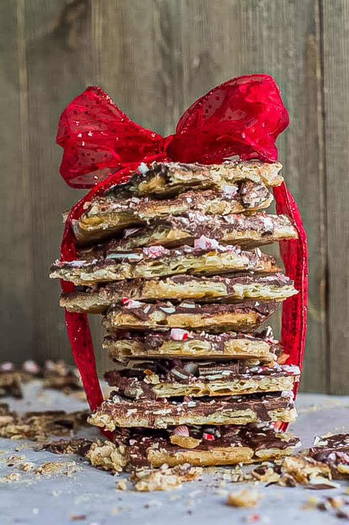 stack of peppermint saltine toffee bark