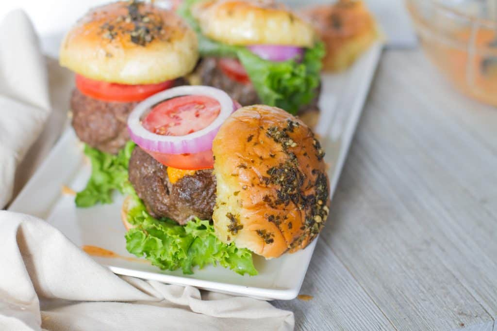 Plated pimento Cheese Stuffed Sliders