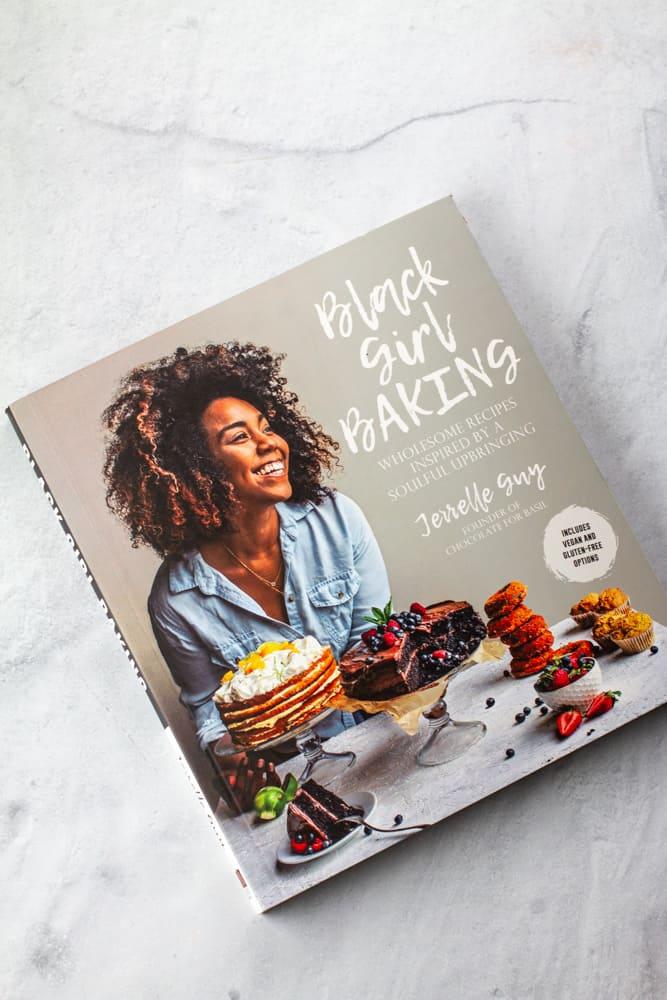 Aerial image of Black Girl baking cookbook by Jerrell Guy.