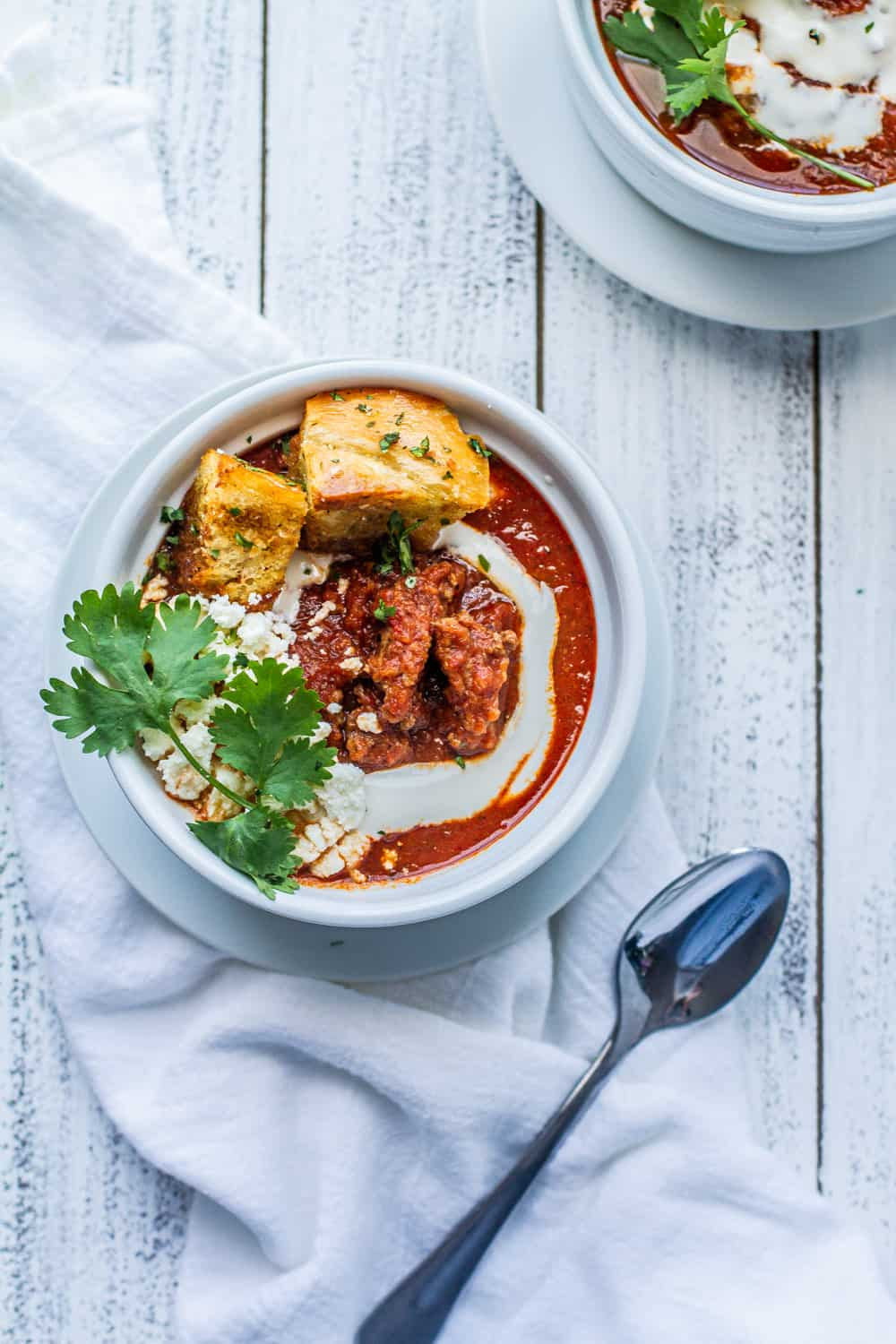 smoky beef and tomato soup with croutons