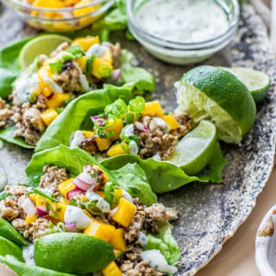close up of Jerk Chicken Lettuce Wraps on serving trap with mango salsa