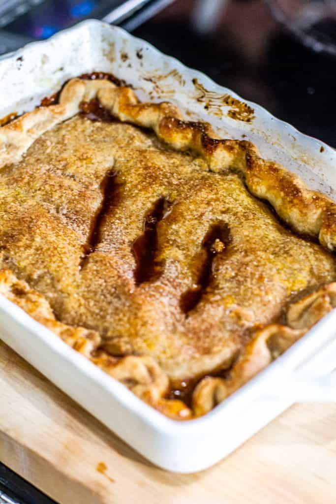 Best Peach Cobbler in baking dish