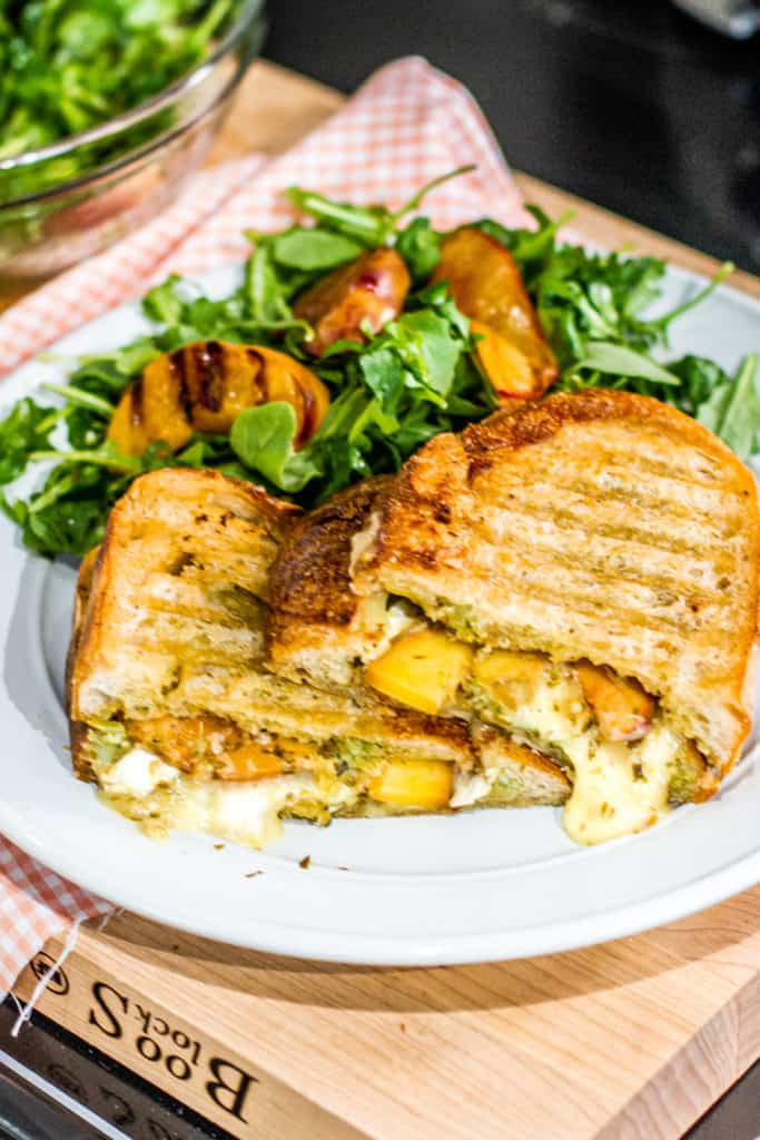 Grilled Peach Panini with a grilled peach salad