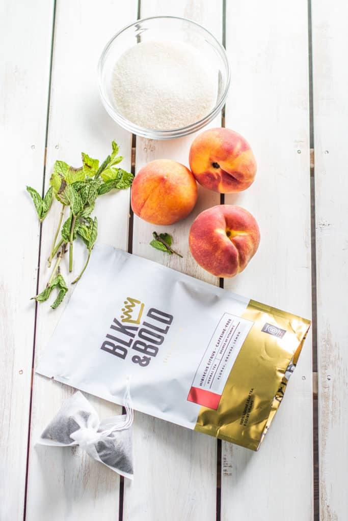 fresh peaches and blk & bold tea