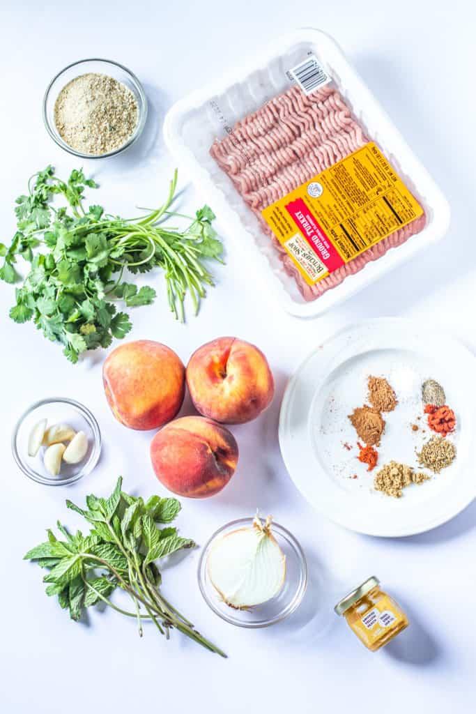 kofta ingredients: peaches, mint, cilantro, bread crumbs, garlic, onion, peach jam, ground turkey, spices