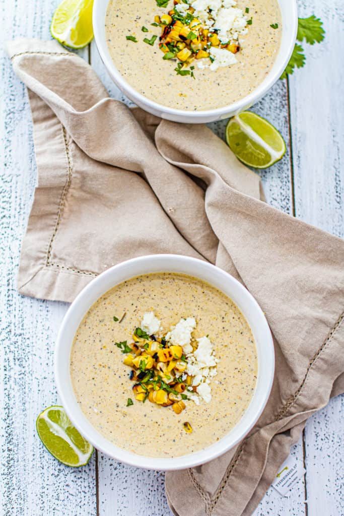 two bowls of elote corn chowder