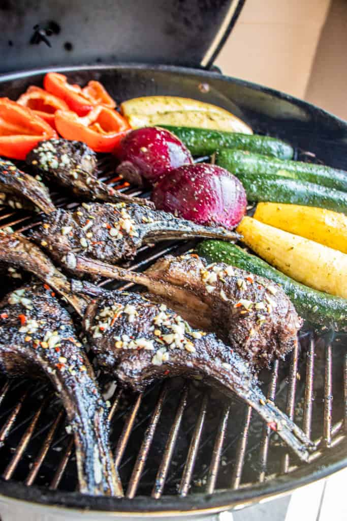lamb chops and veggies on grill