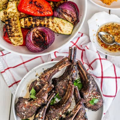 grilled lamb chops & seasonal vegetables