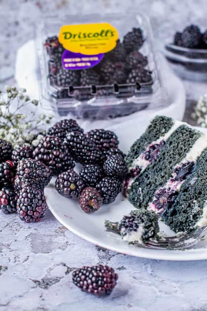 blackberry naked cake with fresh blackberries