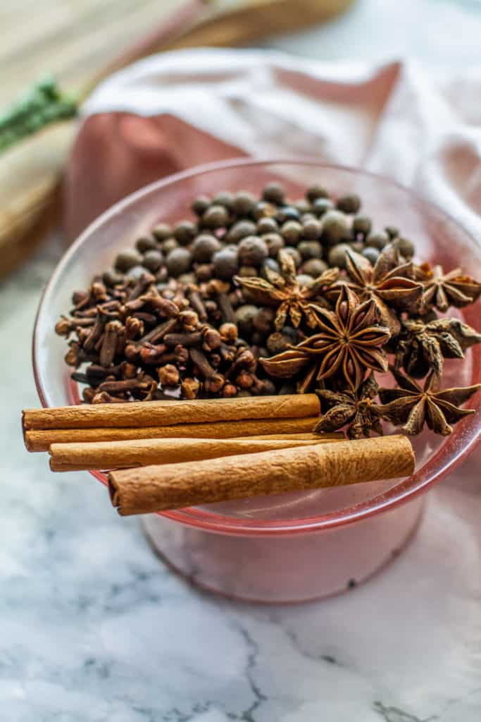 warm spices - star anise, cinnamon sticks, cloves, allspice