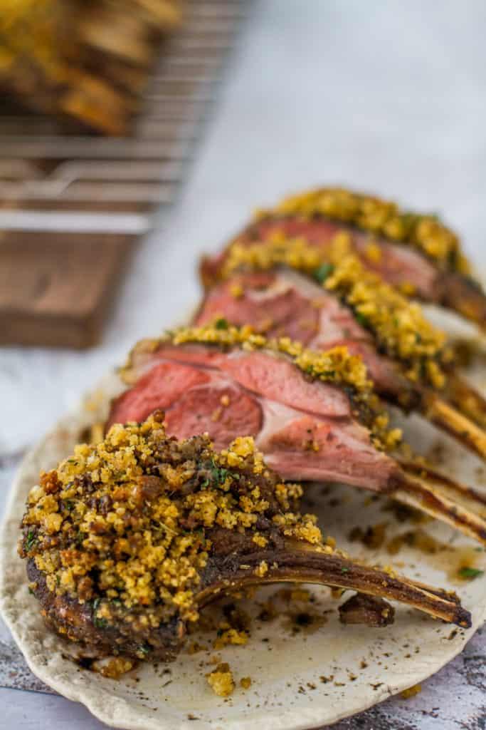 Sliced in chops - Cornbread Crusted Rack of Lamb