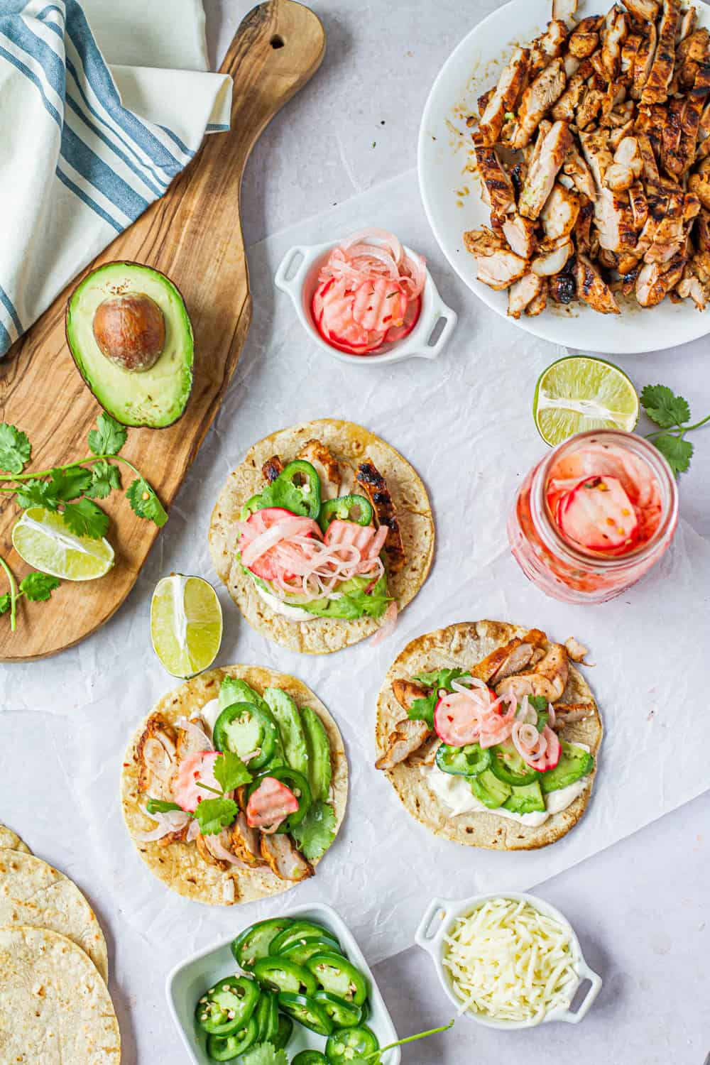 3 margarita tacos with pickled radishes