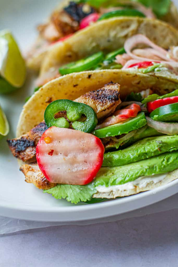 margarita chicken tacos with pickled radishes