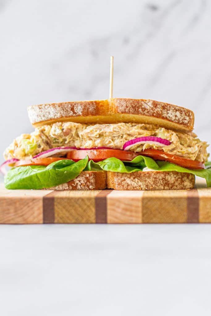 heroic shot of chicken salad sandwich