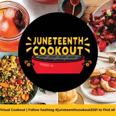 juneteenth recipe list with tamarind wings, hibiscus rum punch, corn maque choux and roasted strawberries and buttermilk biscuts