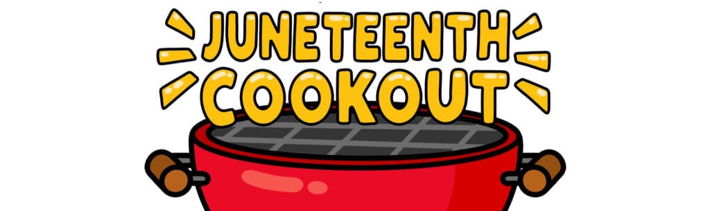illustration of bbq grill with Juneteenth Cookout