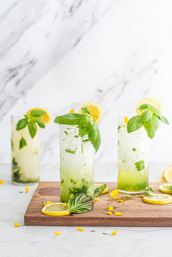 3 glasses of lemon basil mojito