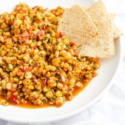 juicy corn salsa in a bowl
