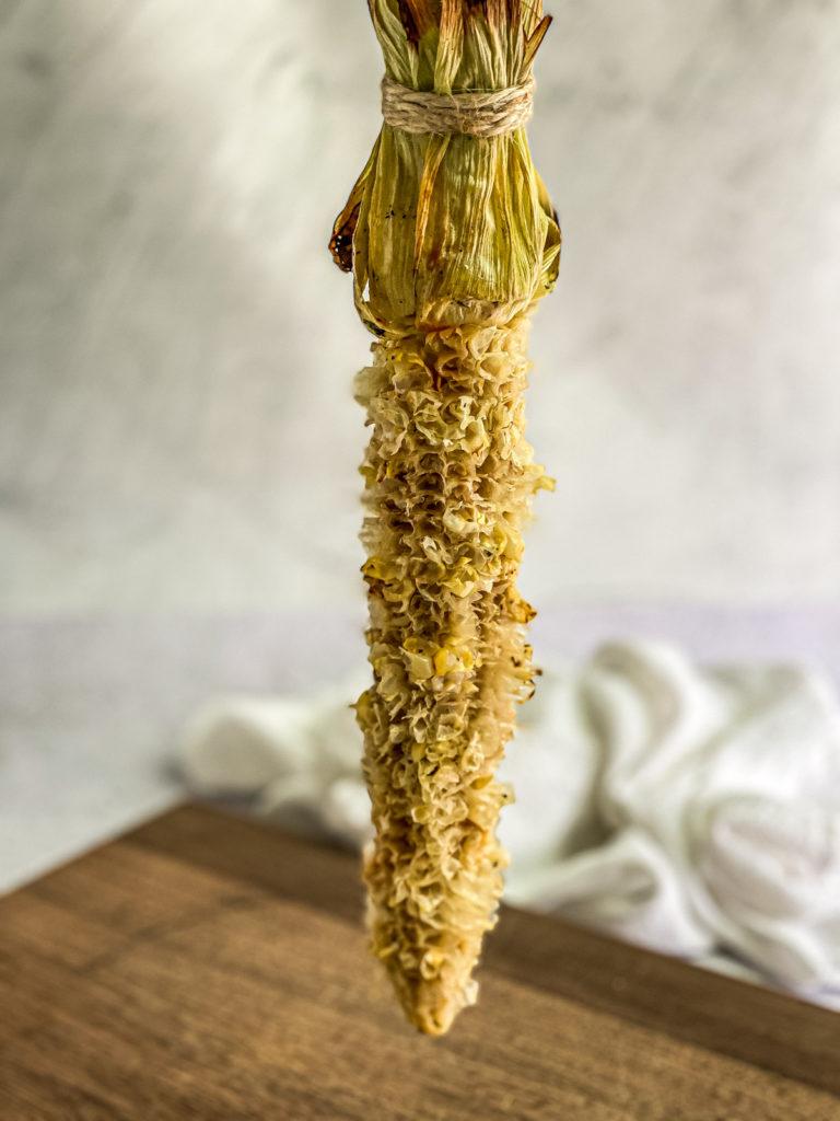 an eaten elote corn on the cob