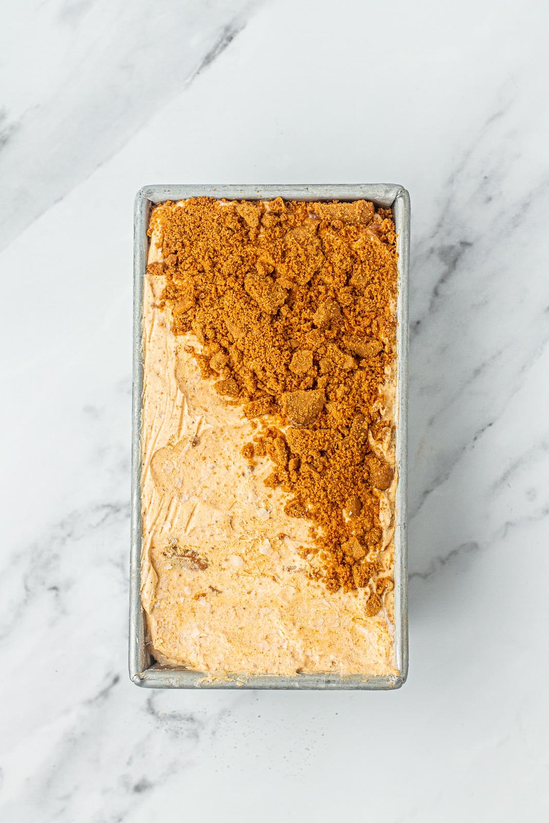 pan of frozen pumpkin spice ice cream