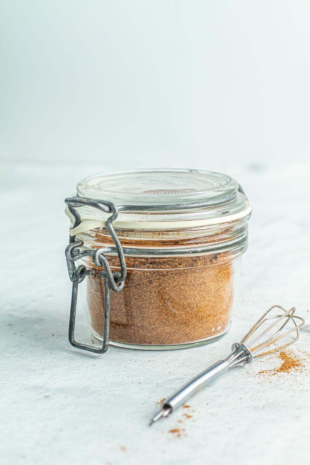 homemade pumpkin spice in a airtight container