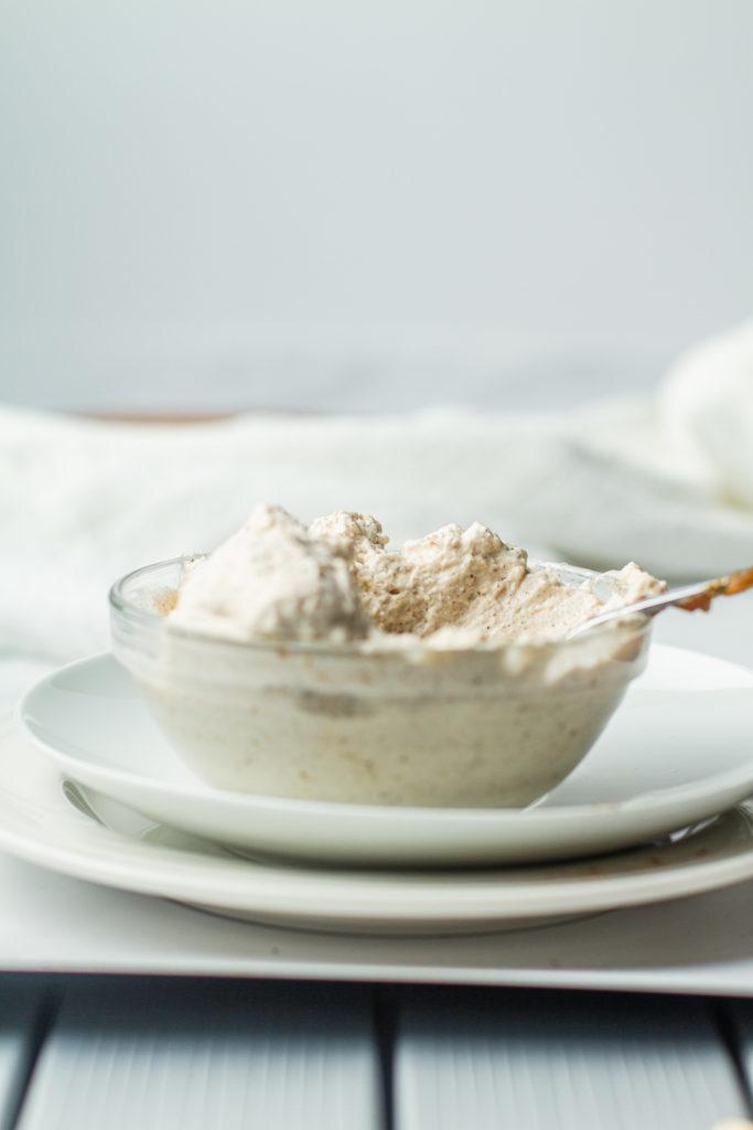 pumpkin spiced whipped cream in a bowl